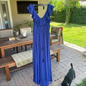 Calypso St Barth ruffle blue maxi dress